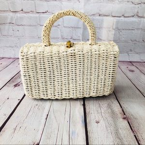 Vintage basketweave top handle bag